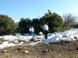 enjoying snow in Israel