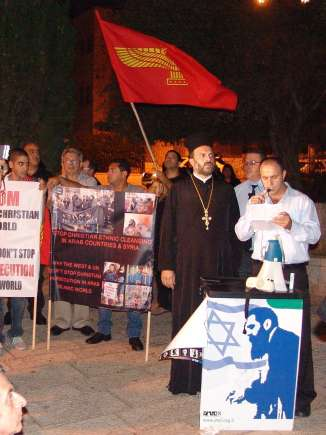 Father Gabriel Nadaf - Christian rally in Haifa - LenCam