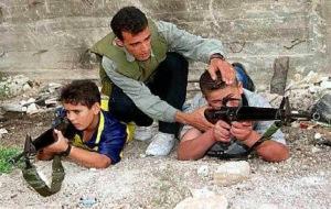 Palestinian children with guns