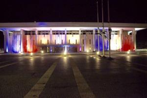 The Israeli Knesset (parliament) flies Israeli flags at half mast and lights up in solidarity with France.