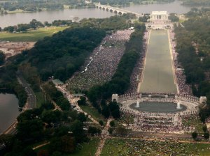 The crowd attending the Restoring Honor rally, organized by Glenn Beck, is seen from the top of the Washington Monument in Washington, on Saturday, Aug. 28, 2010.