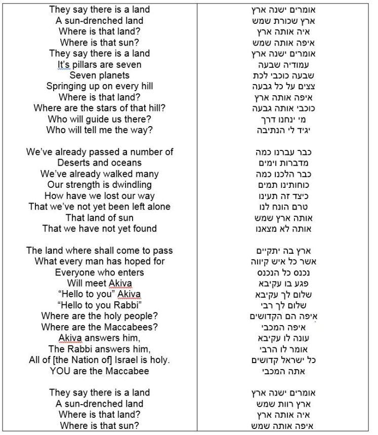 אומרים ישנה ארץ - מילים באנגלית ועברית