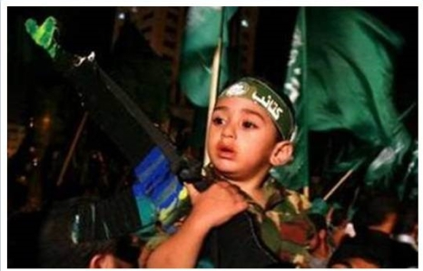Boy in Gaza in celebration of the Disengagement Plan